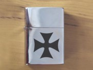 Red Iron Cross Cool Polished Chrome Finished Lighter New