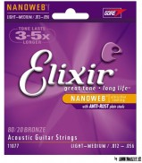 11077 Elixir Acoustic NANOWEB 80/20 Bronze Light-Medium struny na akustickú gitaru